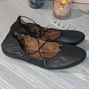 Lucky Brand Eaviee Black Leather Ballerina Flats